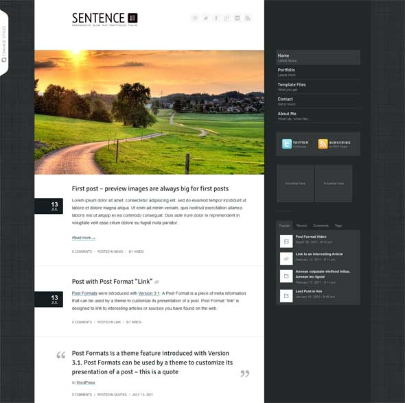 sentence-wordpress-blog-portfolio-review