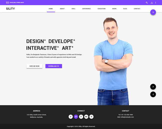 Resume Website Template material cv resume and cv website template Sility Vcard Cv Resume Html Template
