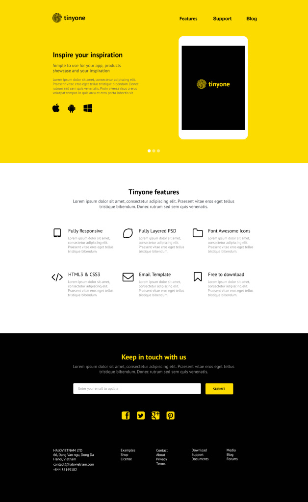 Tinyone - PSD One Page Template