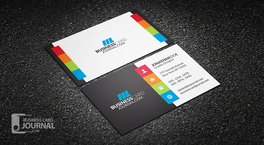 55 free creative business card templates designmaz vibrant multi color business card template reheart Gallery