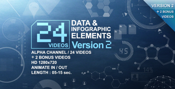 24 Videos Data & Infographic Elements V.2
