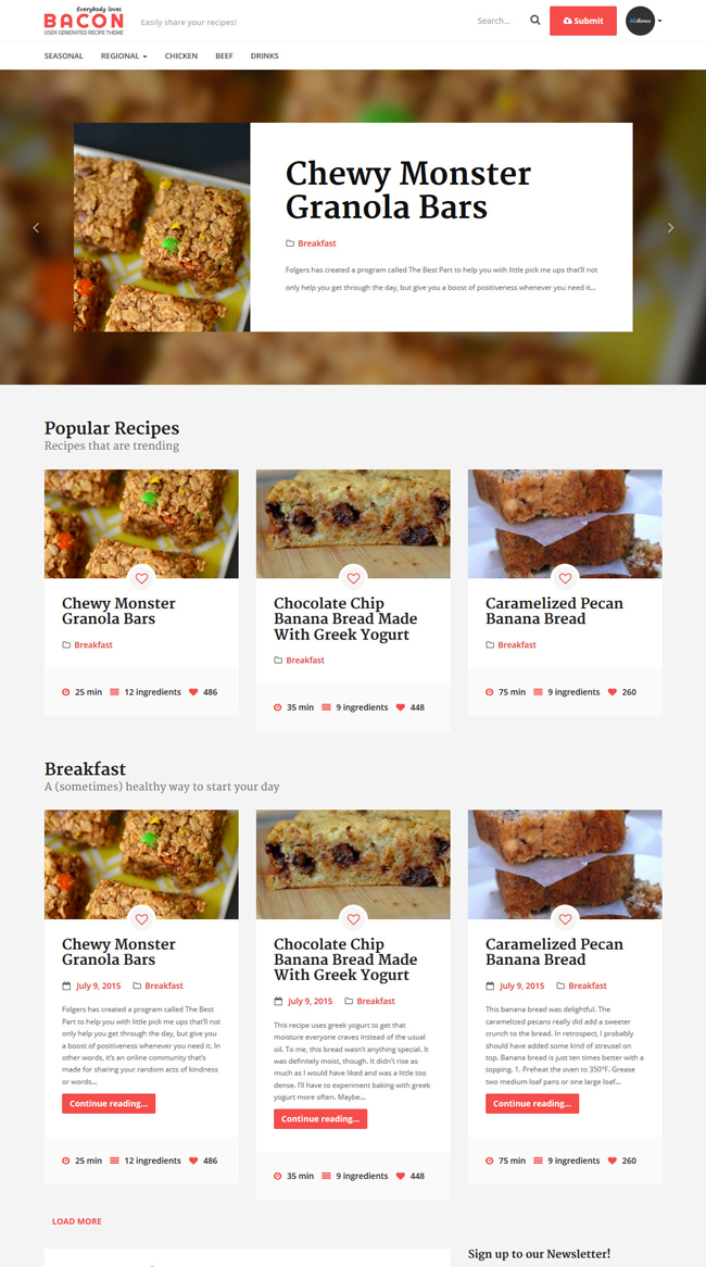 Bacon-User-Generated-Recipe-Wordpress-Theme