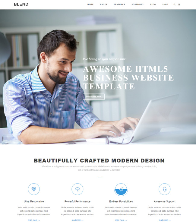 35 responsive html5 css3 website templates 2015 blend multi purpose responsive html5css3 template fbccfo Image collections