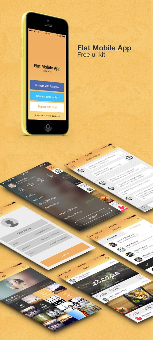 Flat-Mobile-App-UI-kit-PSD
