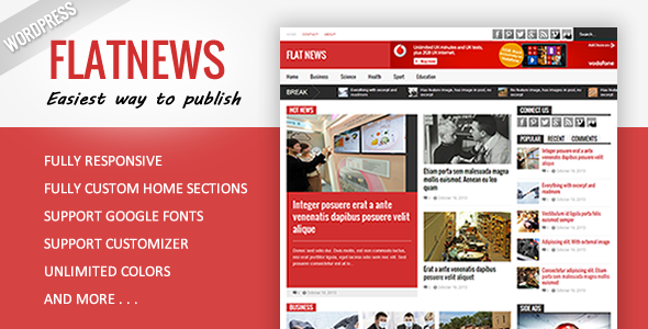 Flat News – Responsive Magazine WordPress Theme