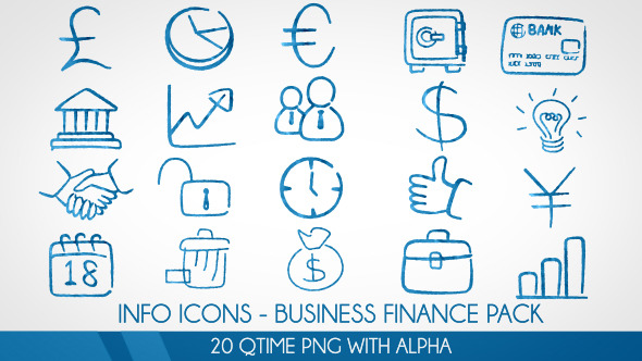 Info Icons 20 Videos - Business Finance Pack
