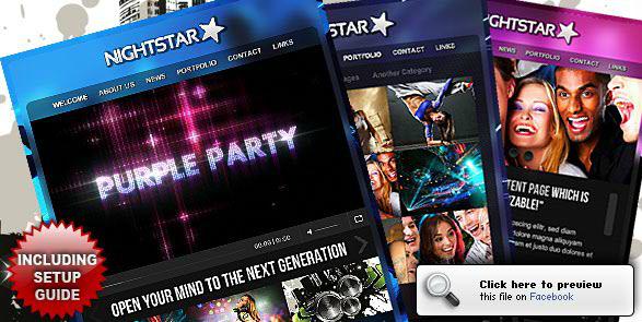 Nightstar Premium Facebook Fanpage Template