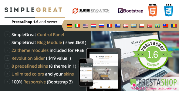 SimpleGreat - Responsive Prestashop 1.6 Theme