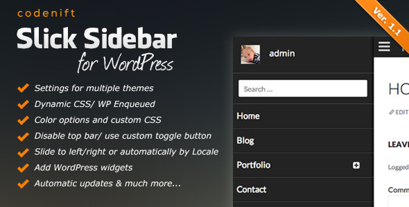 Slick Sidebar Responsive WordPress Plugin