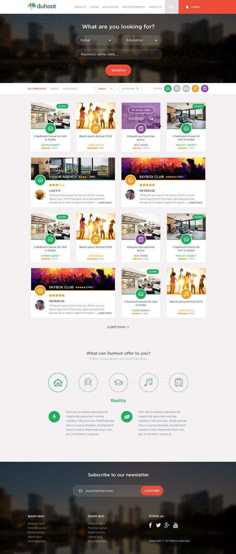 Free Duhoot Portal PSD Template