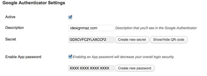google-authenticator-wordpress-settings