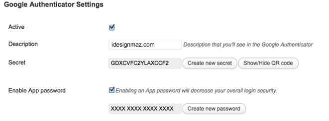 google-authenticator-wordpress-settings