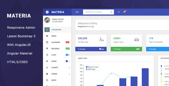 45 best responsive admin dashboard templates 2017 designmaz materia responsive admin template malvernweather Choice Image