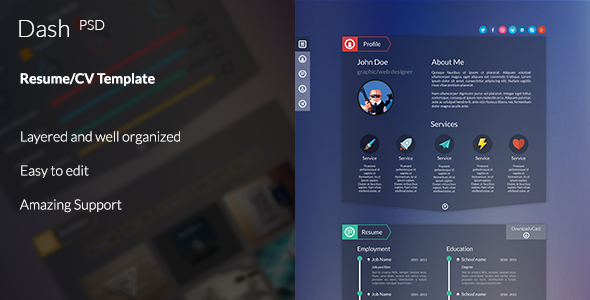Dash - Modern Resume Template PSD
