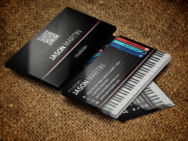 25 free psd business card template designs designmaz free musician business card psd template fbccfo
