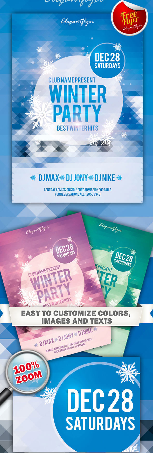 free winter party and club flyer psd template - Free Poster Templates