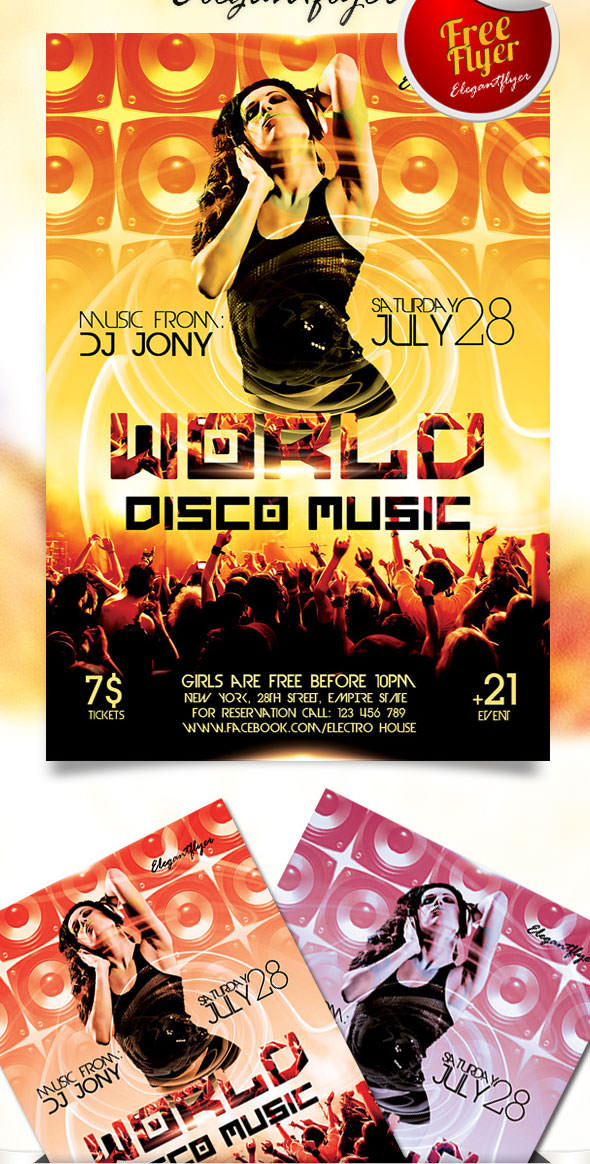 Free World Disco Music Flyer PSD Template With