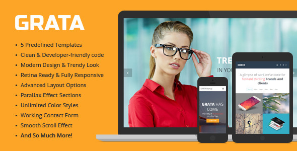 GRATA - Multipurpose One Page HTML Template