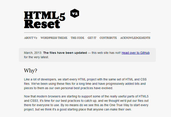 HTML5 Reset - Free Blank WordPress Themes