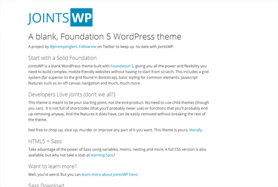 JointsWP - Free Blank WordPress Themes