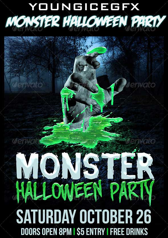 Monster-Halloween-Party-Flyer