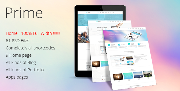 Prime - Multi Purpose PSD Theme