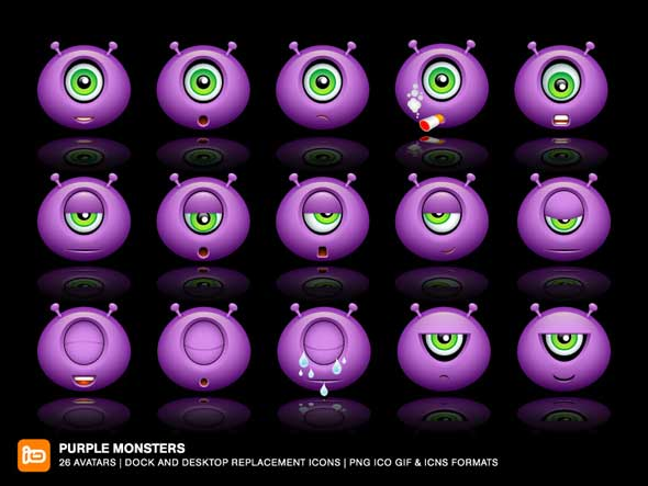 Purple-Monsters---Free-Emoticons-Icon-Packs
