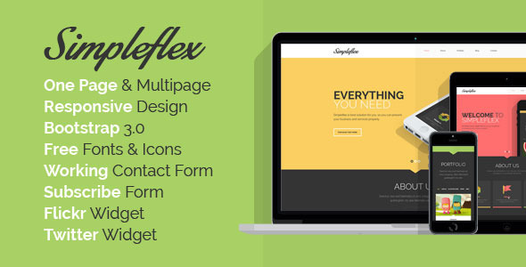 Simpleflex - OnePage & MultiPage Flat HTML templat