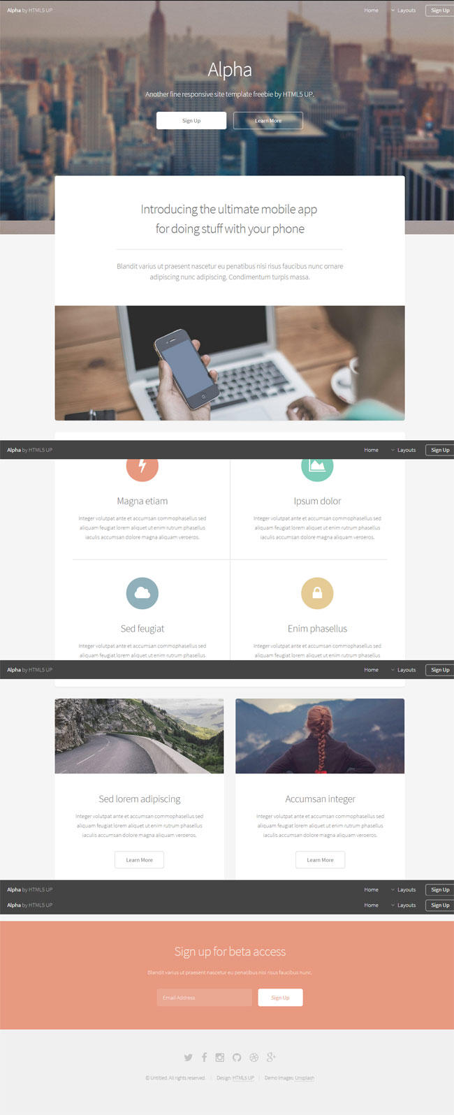 Alpha - Responsive App Showcase Html Template