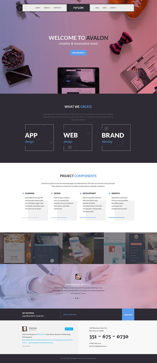 Avalon Studio One Page PSD Template