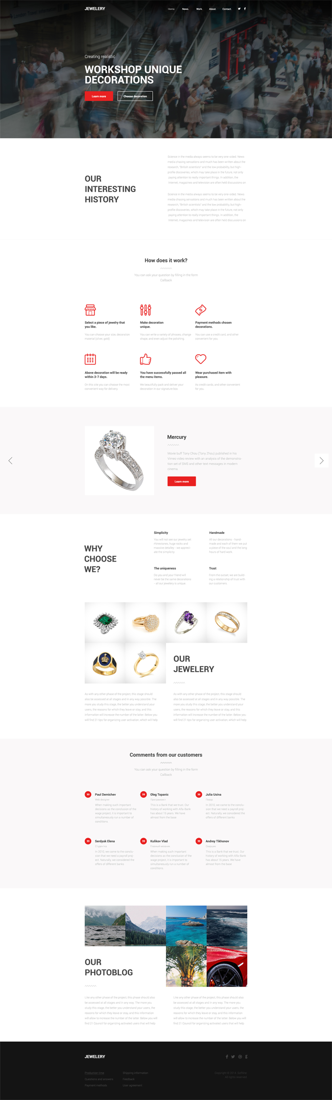 Jewelery One Page PSD Template