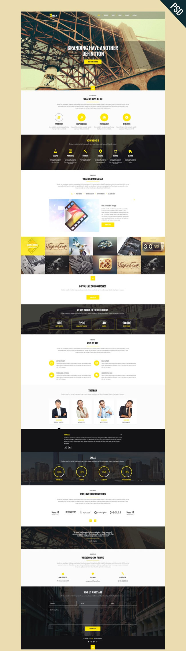 Smak - Free Modern One Page PSD Template