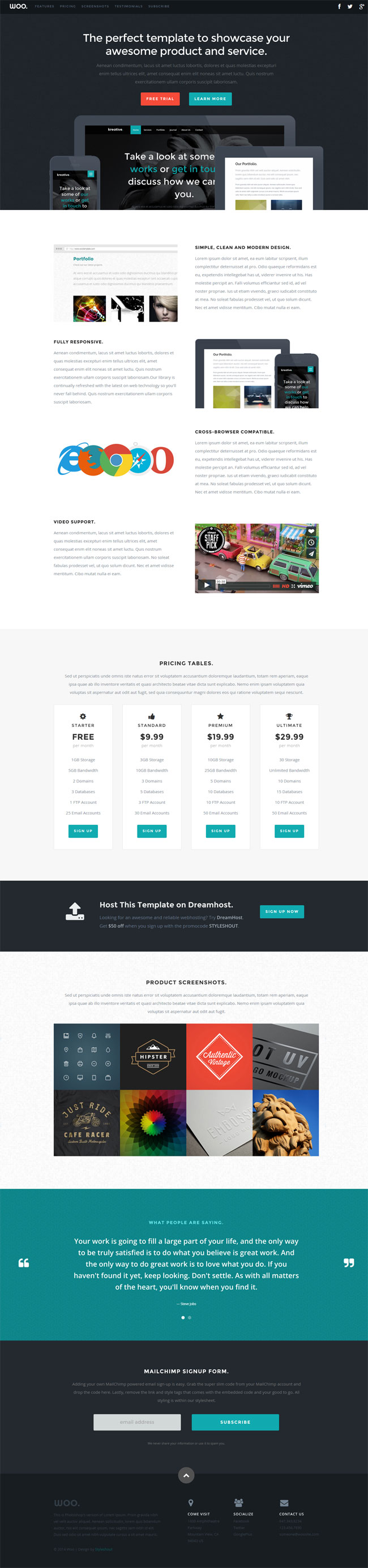 Woo - Free HTML One Page Template
