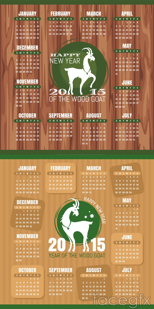 2015 Sheep Calendar Free Vector