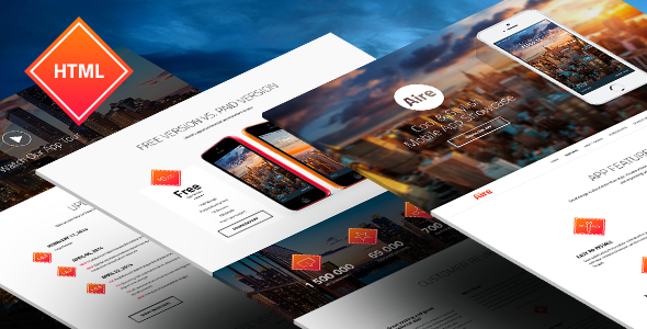 Aire - App Landing Page HTML5-Less Template