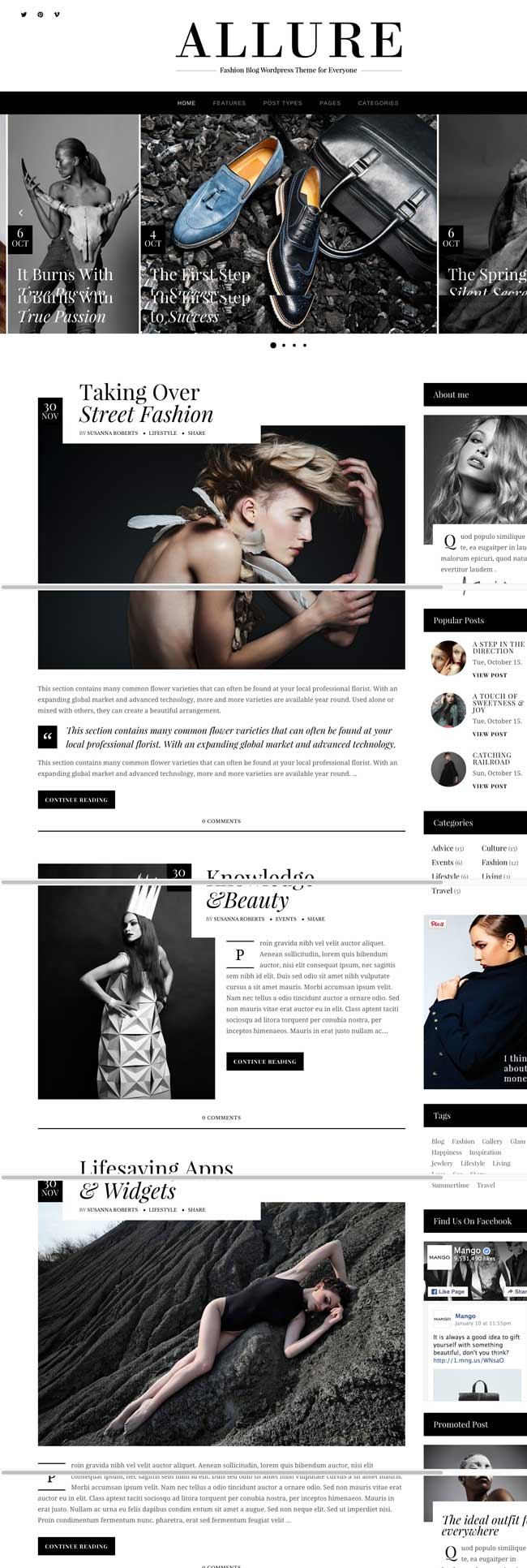 Allure A Fashionable WordPress Blog Theme