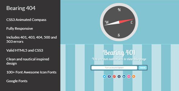 Bearing 404 - Responsive Error Page
