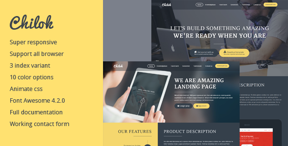 Chilok - Multi purpose landingpage template