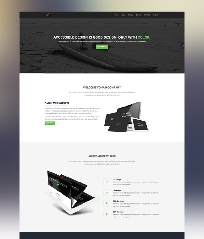 Color HTML5 Bootstrap OnePage Template