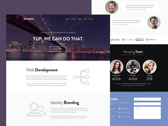 Escape PSD One Page Web Template