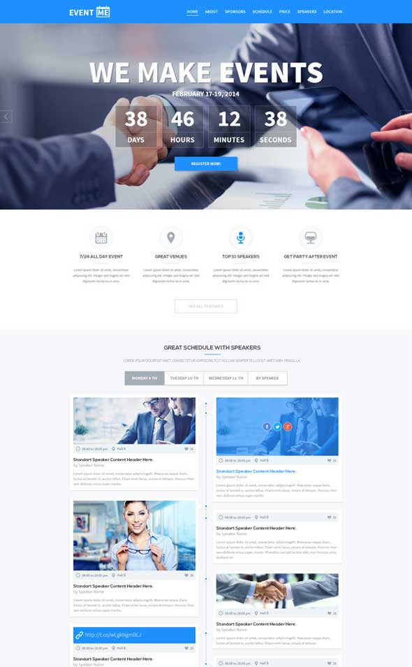 EventME PSD One Page Event Manager