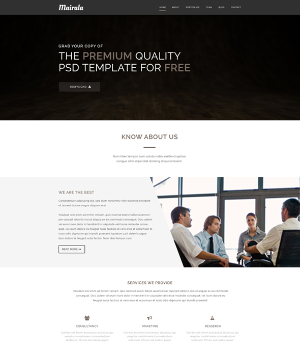 Free-One-Page-Corporate-Agency-PSD-Template