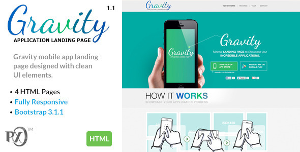 Gravity Mobile App Landing Page Responsive