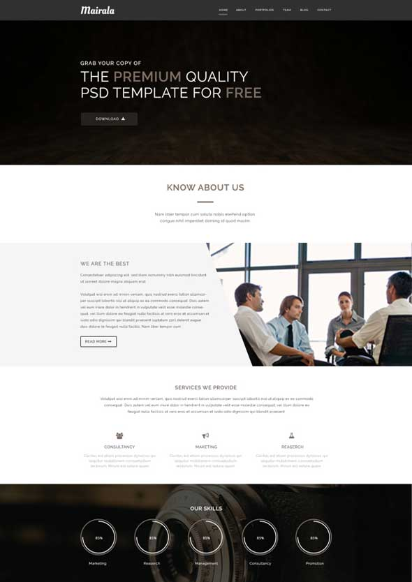 Mairala PSD One Page Corporate Agency Template