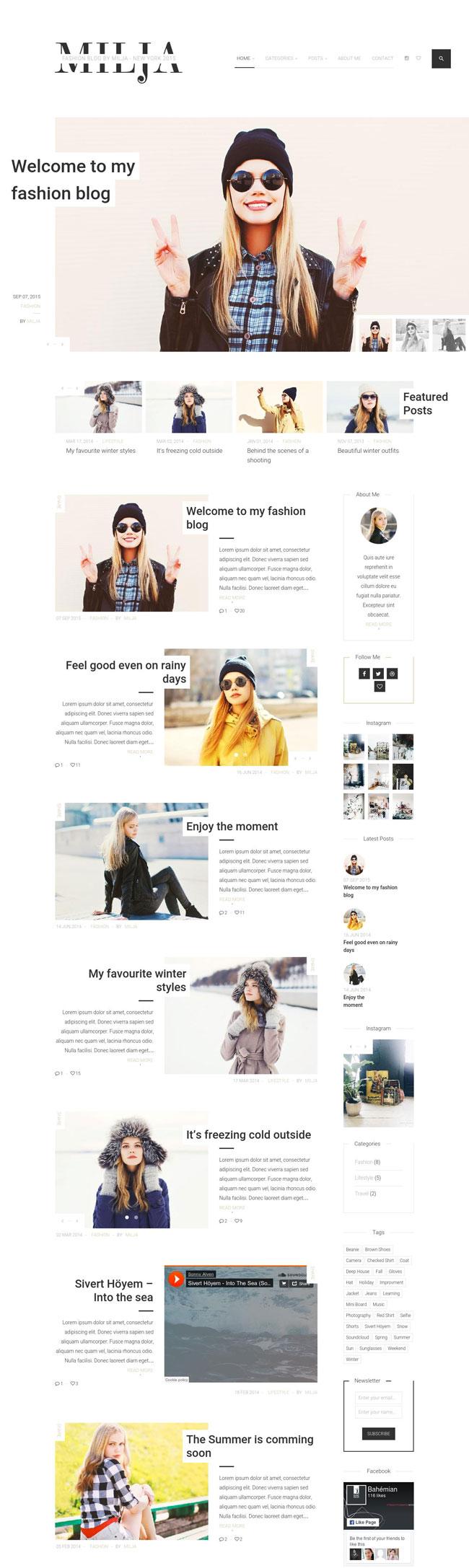 Milja-A-Classy-Personal-WordPress-Blog-Theme
