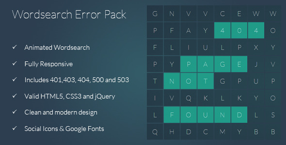 Wordsearch - Responsive 404 Error Pack