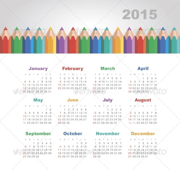 calendar-2015-year-with-colored-pencils