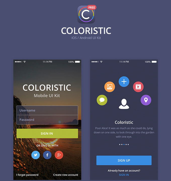 Coloristic PSD App UI Kit
