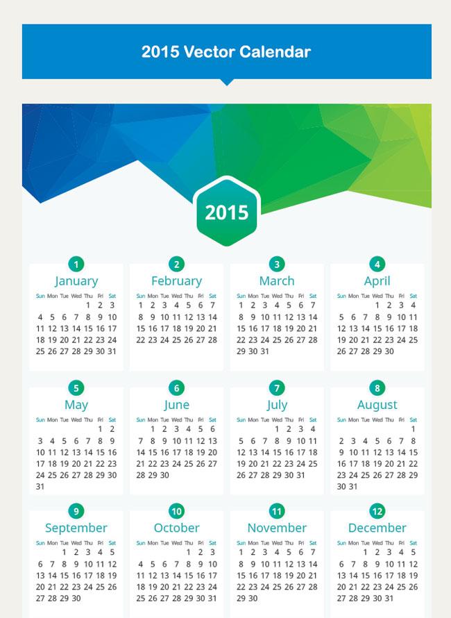 Flat Calendar 2015 Vector