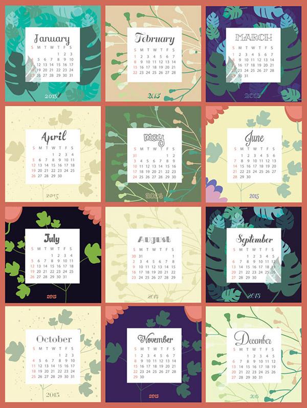 flower-2015-calendar-vector